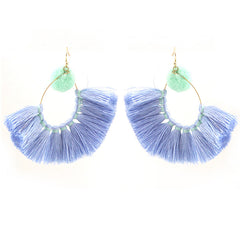 Thread Tassel with Pompom Earrings