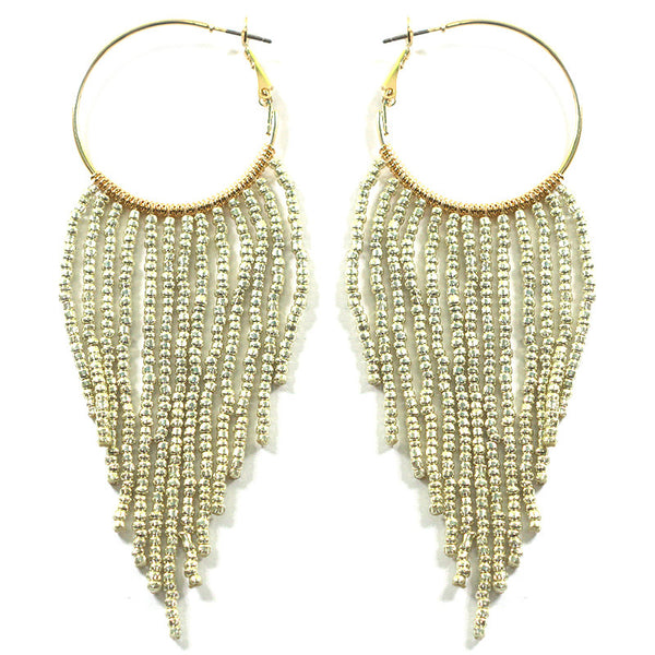 Seed Beads Fringe Hoop Earrings