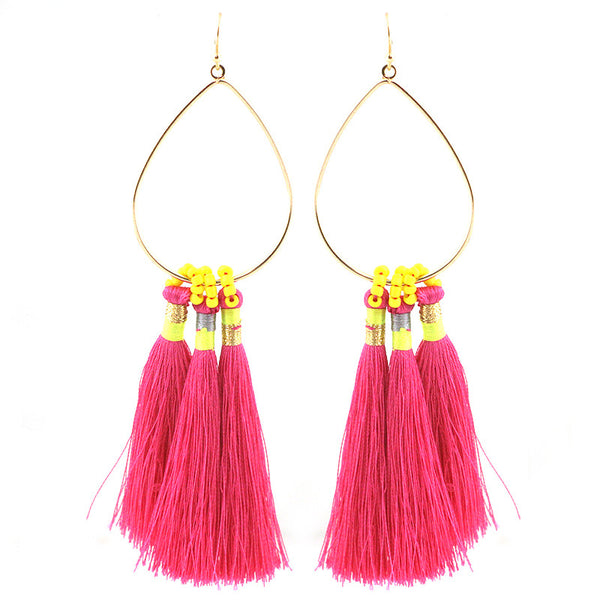 Triple Thread Tassel Earrings