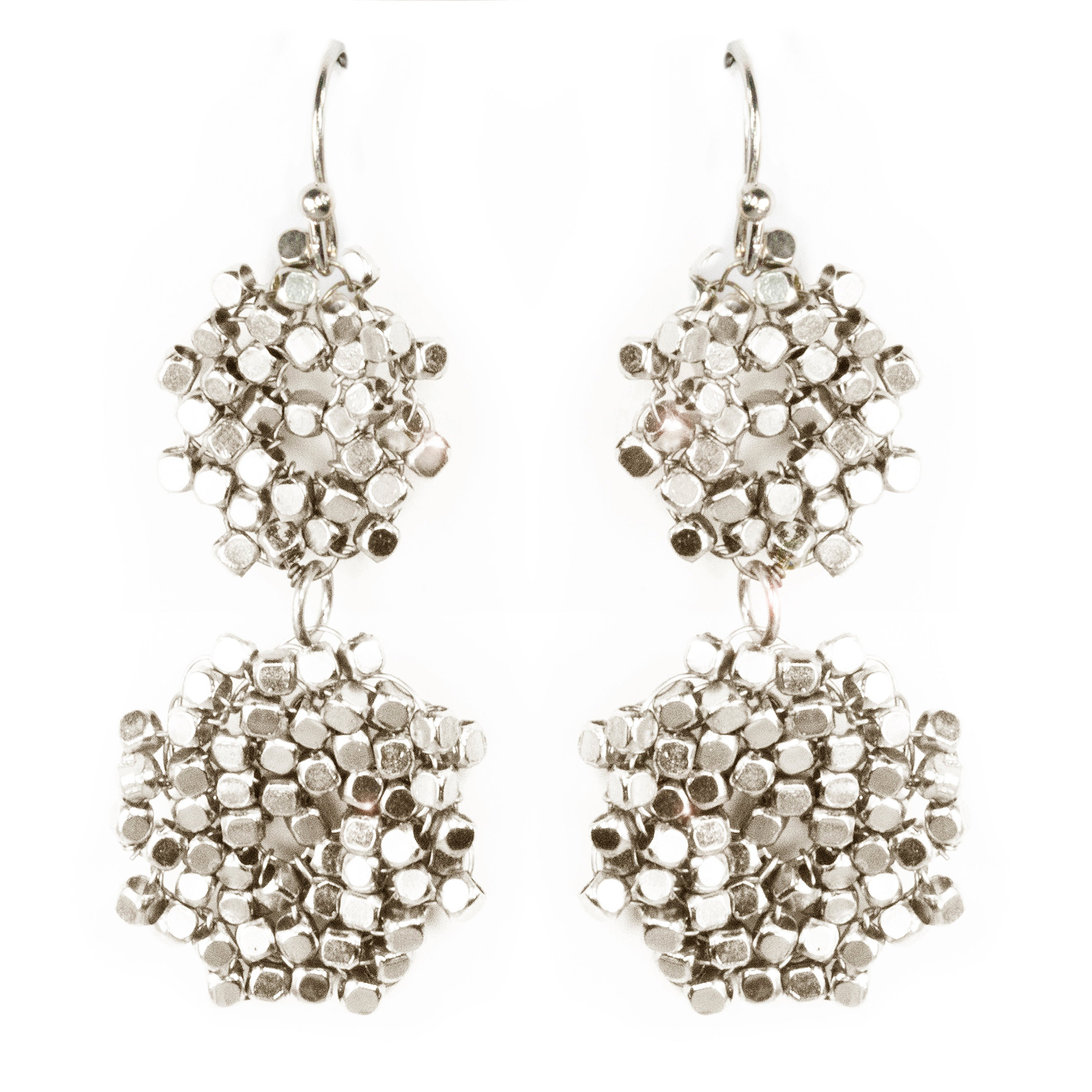 Double Beaded Disk Drop Earrings
