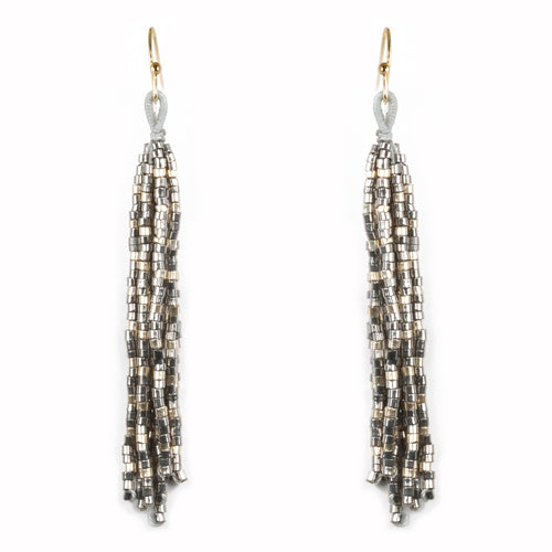 Lightweight Seed Beaded Fringe Drop Earrings
