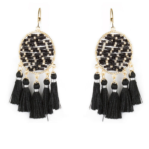 Lightweight Seed Beaded Mini Tassel Drop Earrings