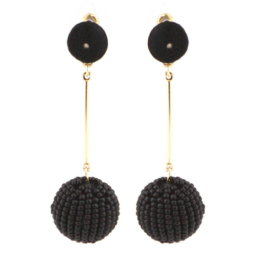 Thread and Seed Beads Ball Earrings