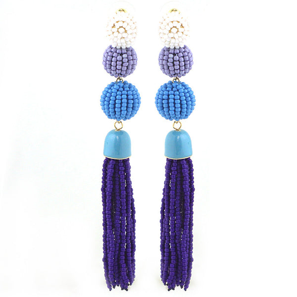 Seed Beads Ball with Tassel Earrings