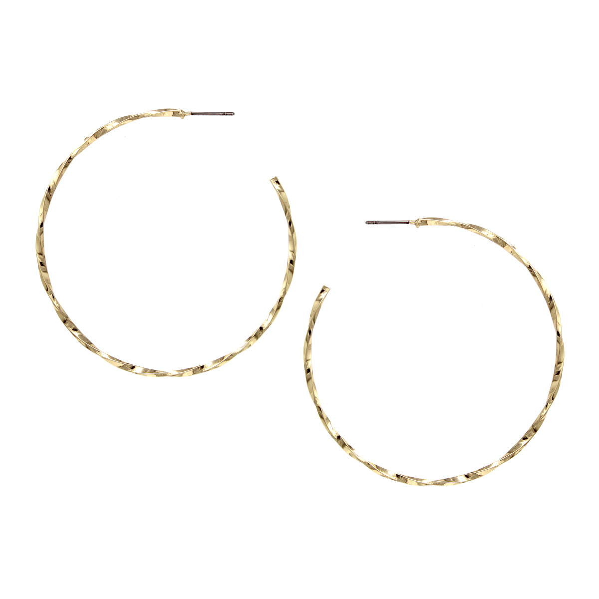 Twisted Metal Hoop Earrings (55 mm)
