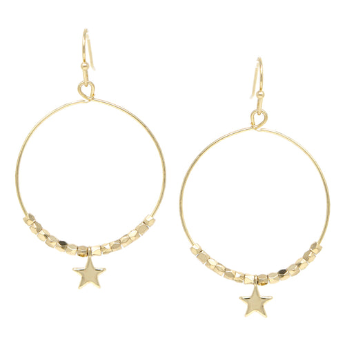 Nugget Bead With Mini Star Dangle Hoop Earrings