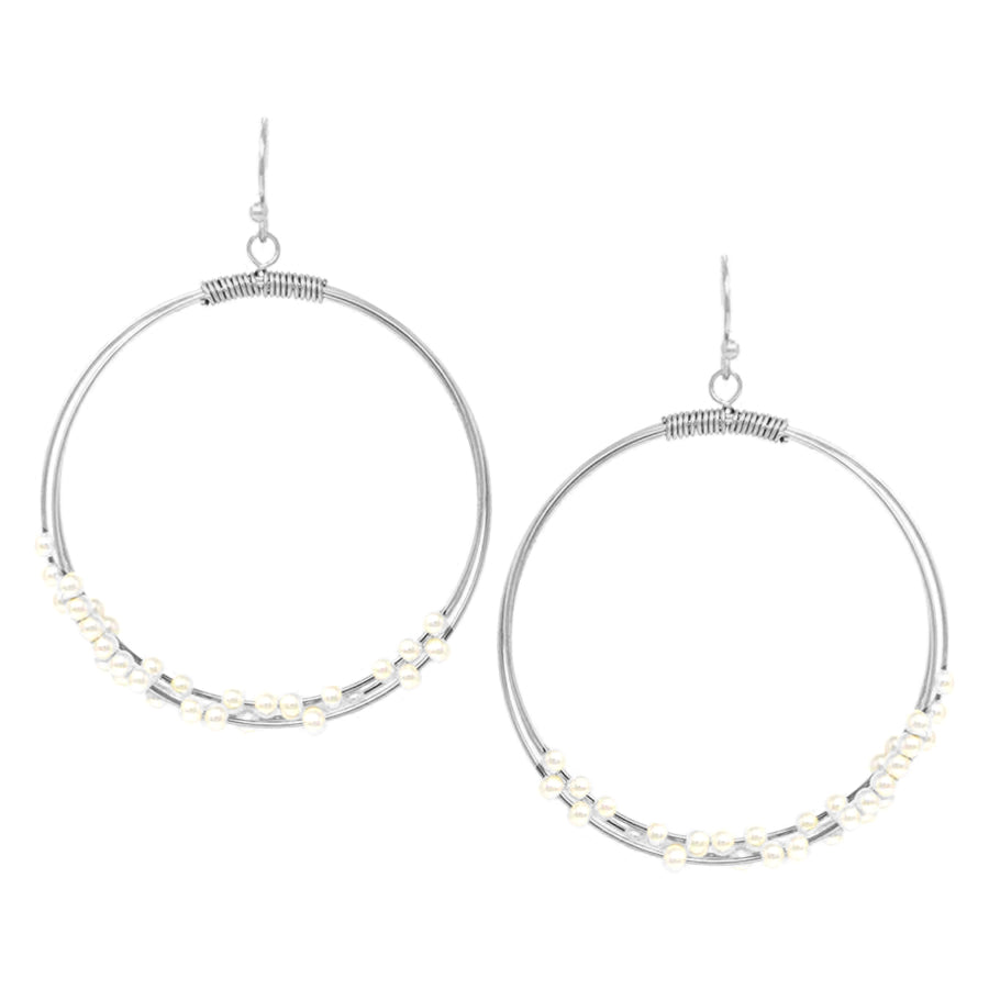 Skinny Double Hoop With Pearl Bead Drop Earrings
