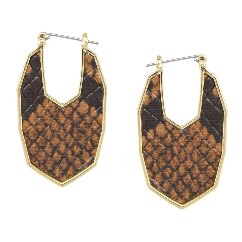 Animal Skin Print Faux Leather Earrings
