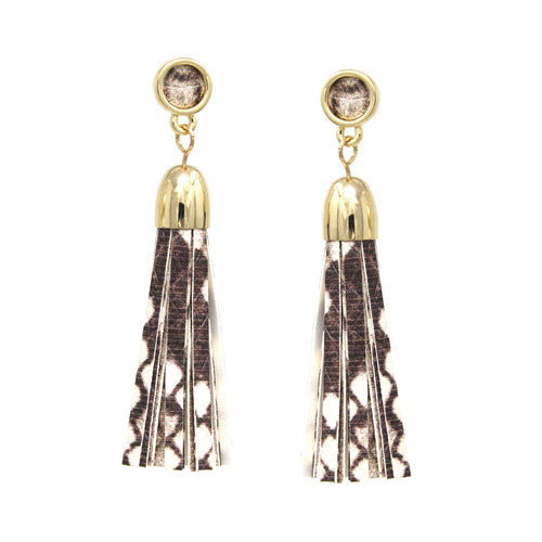 Snake Skin Print Faux Leather Tassel Drop Earrings