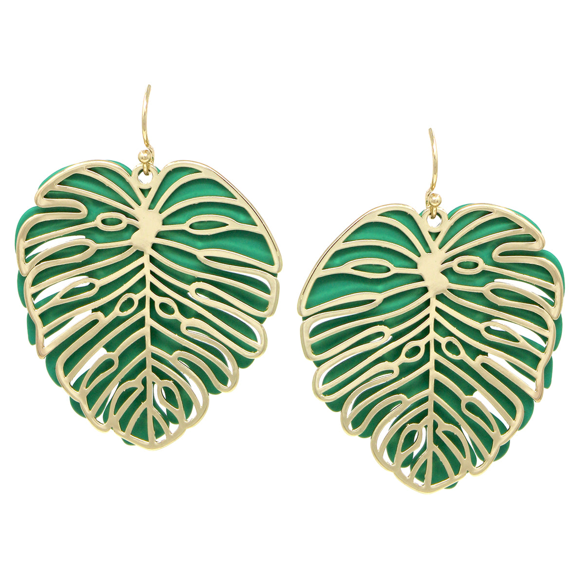 Rubber Coat Metal And Cutout Palm Leaf Layered Drop Earrings