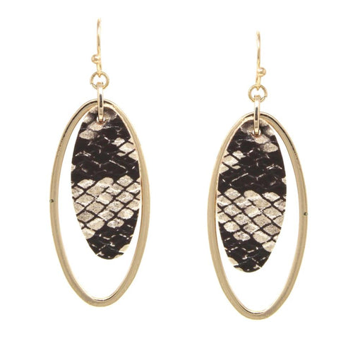Oval Shape Snake Skin Print Faux Leather With Hoop Layered Drop Earrings