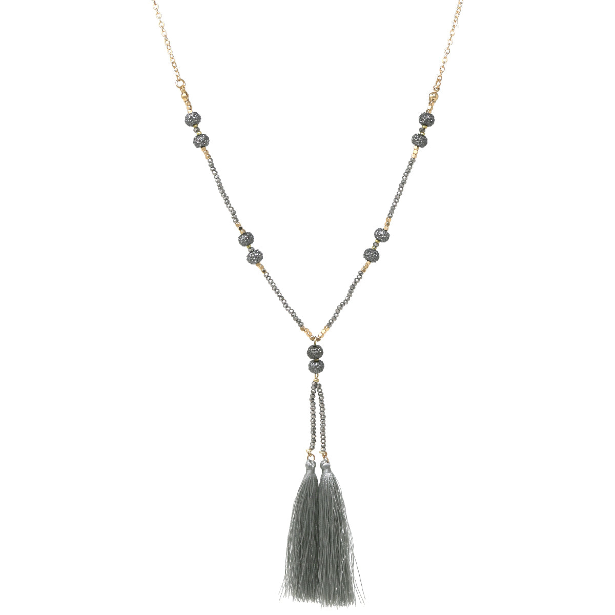 Rhinestone Pave Ball Glass Beaded Tassel Drop Necklace