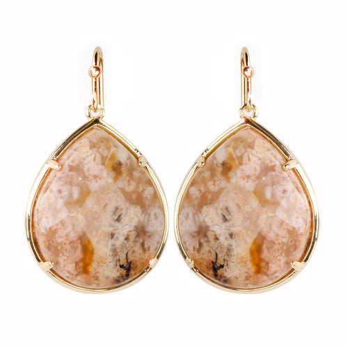 Semi Precious Stone Teardrop Earrings