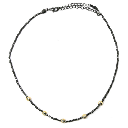 Textured Metal Ball Cube Beaded Short Necklace