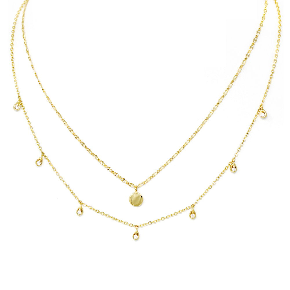 Cubic Zirconia Mini Disc Layered Short Necklace