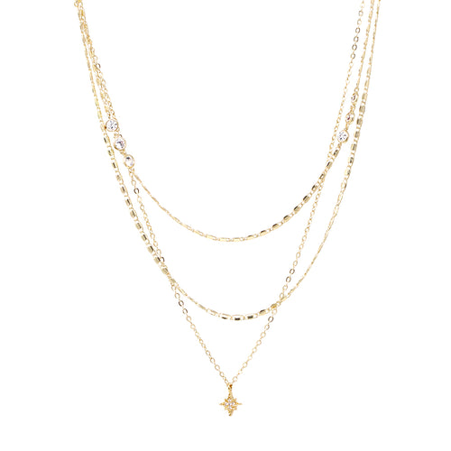 Cubic Zirconia Pave Star Pendant With Multi Chain Layered Short Necklace
