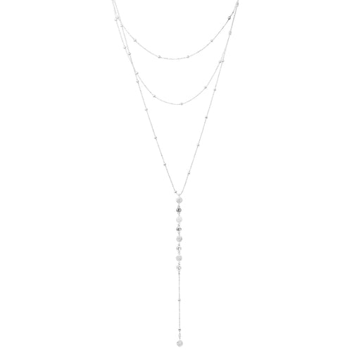 Textured Mini Disc With Cubic Zirconia Drop Layered Y-Necklace