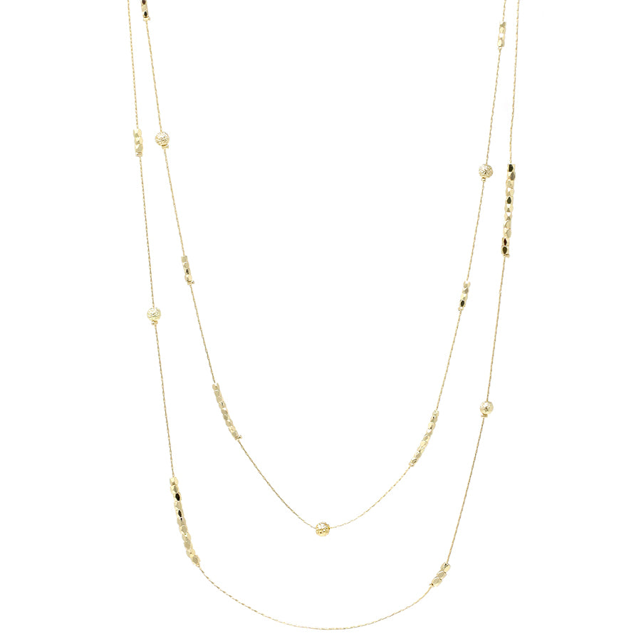 Textured Small Ball And Nugget Bead Station Layered Long Necklace