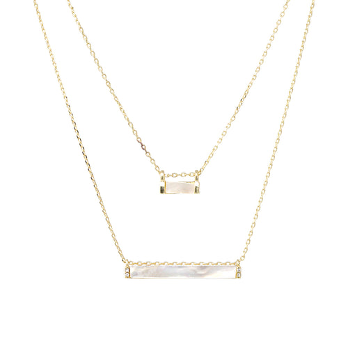 Mother of Pearl Bar Double Layer Short Necklace