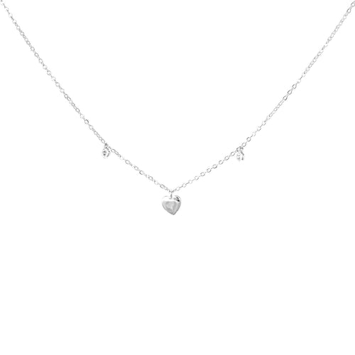 Cubic Zirconia With Heart Pendant Short Necklace