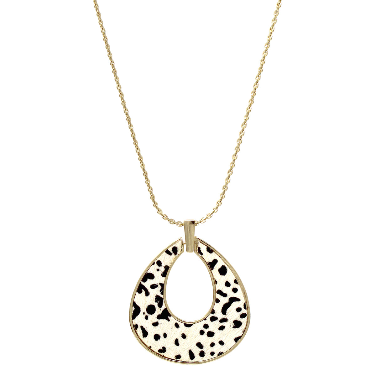 Animal Print Faux Leather Embellished Teardrop Shape Pendant Long Necklace