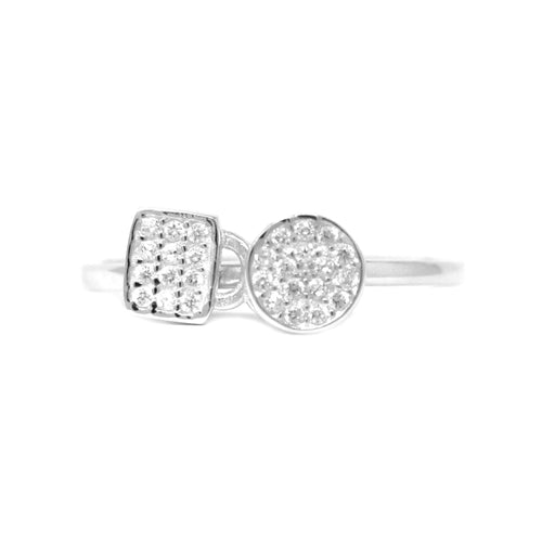 Sterling Silver Cubic Zirconia Paves Disc With Square Dangle Ring