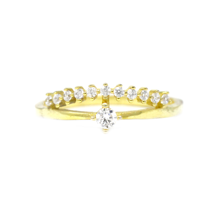 Sterling Silver Cubic Zirconia Double Layer Ring
