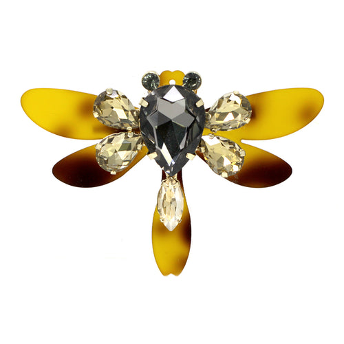 Dragonfly Acetate With Glass Stone Brooch
