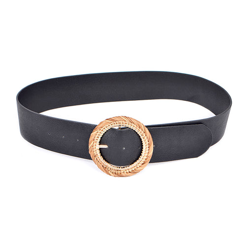 Chunky Round Rattan Buckle Faux Leather Belt