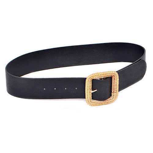 Chunky Square Shape Rattan Buckle Faux Leather Belt