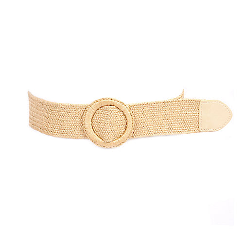 Woven Straw With Ring Buckle Stretch Belt