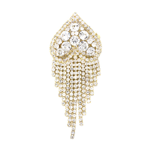 Heart With Rhinestone Fringe Brooch