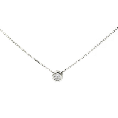 Sliding CZ Stone Charm Collar Chain Necklace