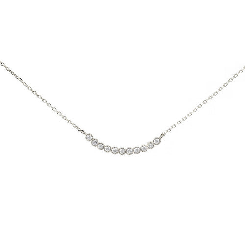 CZ Paved Curved Bar Collar Chain Necklace