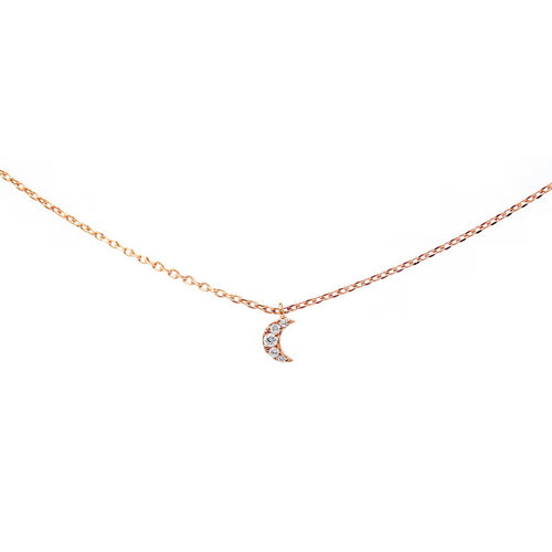 CZ Paved Crescent Moon Charm Collar Chain Necklace