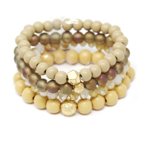 Glass / Wood / Metal Beaded Stretch Bracelet Set
