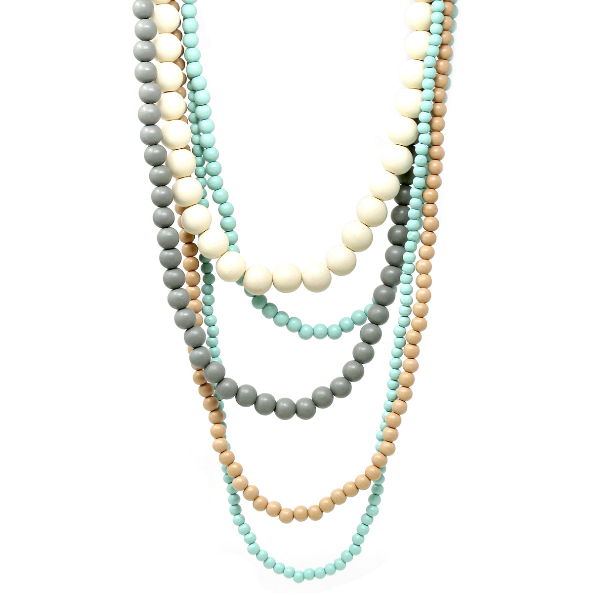 Color Wood Beaded Multi Layered Necklace