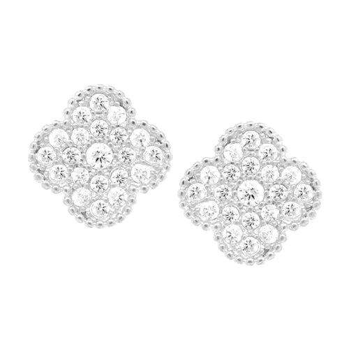 Gold Dipped Cubic Zirconia Pave Clover Stud Earrings