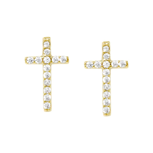 Gold Dipped Cubic Zirconia Pave Cross Stud Earrings