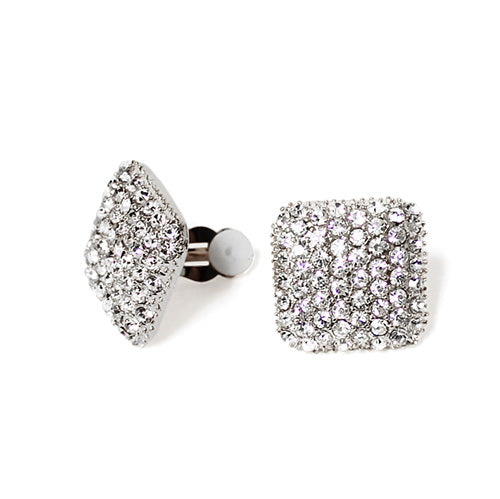Crystal Paved Square Clip On Earrings