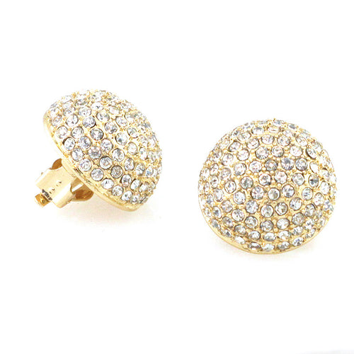 Glass Stone Pave Dome Shape Stud Clip On Earrings