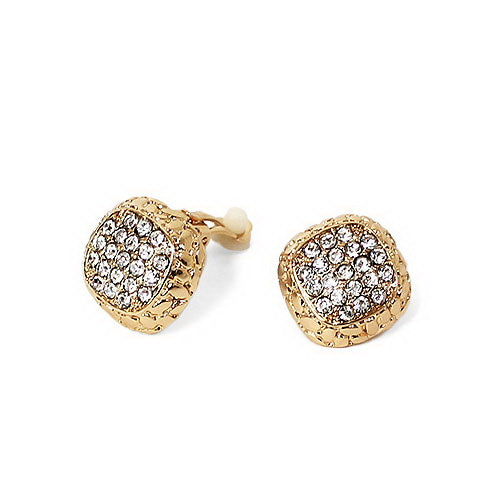Square Crystal Button Clip On Earrings
