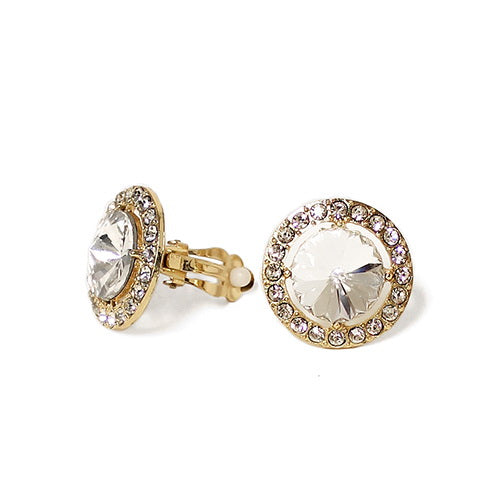 Rhinestone Halo Round Clip On Earrings