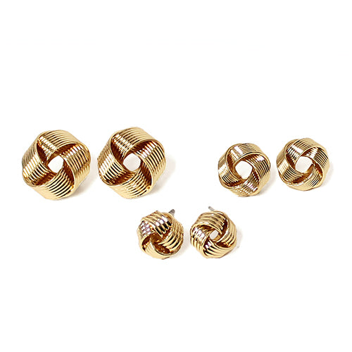 3 Set Scratch Metal Knot Ear Studs