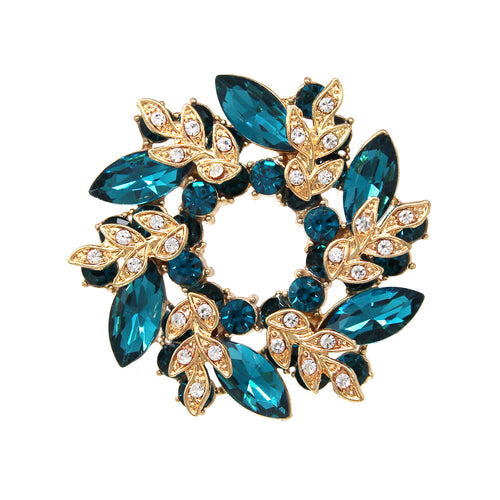 Marquise Stone Pave Wreath Brooch