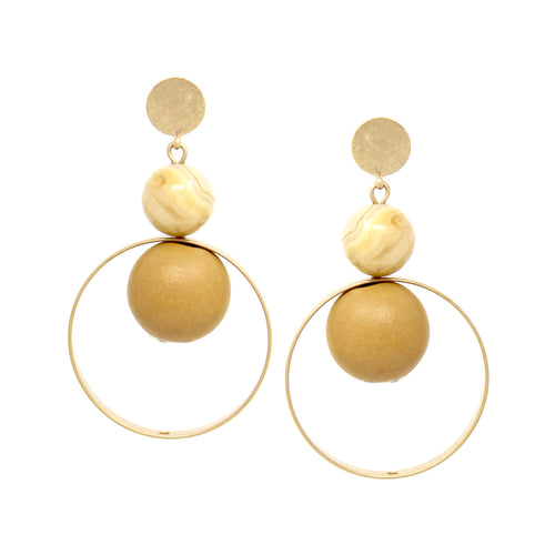 Natural Stone With Wood Ball And Hoop Drop Earrings