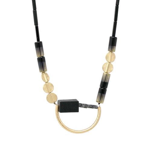 Geometric Gold Tube Bead And Wood With Natural Stone Necklace