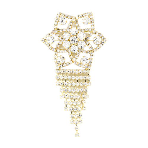 Flower With Rhinestone Fringe Brooch