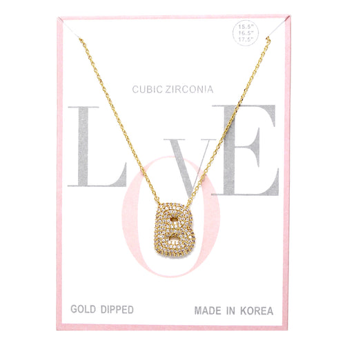 B Cubic Zirconia Pave Initial Simple Chain Necklace