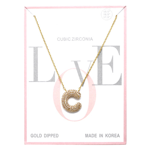 C Cubic Zirconia Pave Initial Simple Chain Necklace